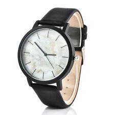 Creative Men's Womens Stripe Veined Marble Watches Quartz Wrist Genuine Leather