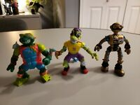 Vintage TMNT lot of 3 figures Surfing Mike Mondo Gecko and Fugitoid