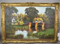 Malcolm Gearing Original Oil Painting English Countryside Landscape Cottages