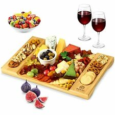 Unique Bamboo Cheese Board Charcuterie Platter and Serving Tray for Wine Crac...