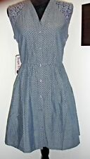 Sugar Kisses - Junior's Plus Size Short Woven Polka Dot Dress Chambray Blue - 1X