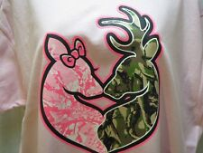 Browning Buck and Doe Kissig W/ Heart Ladies  T-shirt Pink size  Ex L  us seller