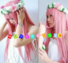 Lolita Japan Anime Megurine Luka Cosplay Wigs Pink Full Party Hair + Wig cap