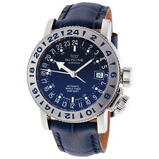 Glycine 3918.18.66.LBK8 Men's Airman 18 Purist Automatic 39mm Blue Dial Watch