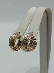 "14K Yellow Gold & Sterling Silver 925 3/4"" Hoop Earrings"