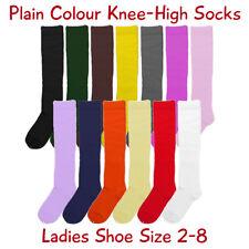 Ladies Cotton Knee-High Socks, Plain Colours, Ladies Shoe Size 2-8, Free Postage