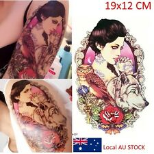 Waterproof Temporary Tattoo Stickers Wolf and Beauty Girl Body Art Exotic Makeup