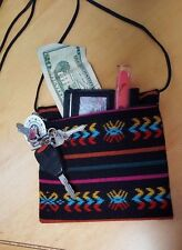 NWOT Mexican woven cross body bag black with multi color bohemian Hippie