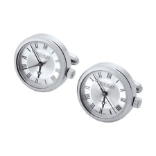 Designer - Jean Pierre of Switzerland - Chrome Plated Quartz Watch Cufflinks