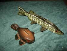 2 Karl Johnson Pike And Beaver Fish Decoy Lure