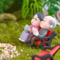 Opa Oma DIY Miniatur Figur Garten Puppenhaus Dekor Micro  Landschaft