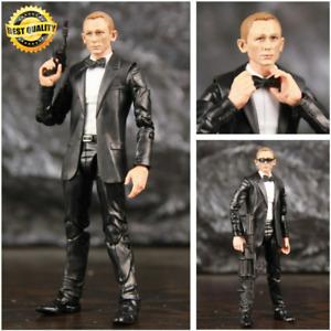 """James Bond Action Figure Bow tie Black Suit 2 Guns 1/12 Collectible PVC Model 6"""""""
