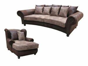 """Big Sofa """"Hawana"""" & Sessel und Hocker Kolonialstil Neu"""
