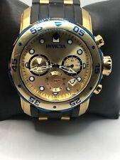 Invicta 17887 Men Black Polyurethan Analog Gold Dial Quartz Genuine Watch KS461