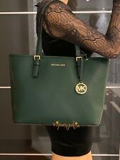 MICHAEL KORS JET SET TRAVEL MEDIUM CARRYALL TOTE LEATHER BAG RACING GREEN