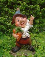 XL Design Zwerg mit Karotten Garten Gartenzwerg Figuren Dekoration 37 cm Hoch