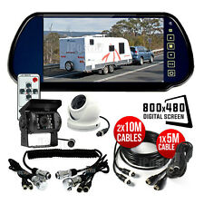 "7"" Rear view Mirror Monitor 2x IR Reversing Color CCD Camera For Trailer Caravan"
