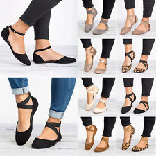 Women's Slip On Flat Ankle Strap Pumps Ballet Dolly Casual Ballerina Dance Shoes