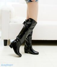 Womens Fashion Patent leather Knee High Riding Boots Shoes Plus Size Fashion new