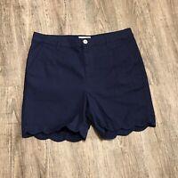 Caribbean Joe Women's Shorts ~ Sz 12 ~ Blue ~ Mid Length ~ High Rise