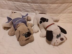 "2 Vintage 1985 Tonka Pound Puppies Plush White and Gray Spotted 18"" Dogs +Outfit"