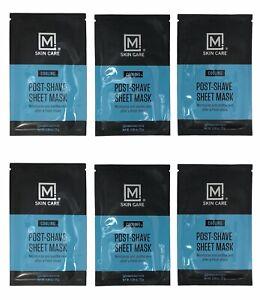 M Skin Care Men's Facial Masks Post-Shave Moisturize/Smooth/Cooling-Lot of 6