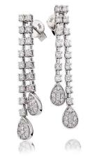 Diamond Drop Pear Cluster Earrings 1.25ct F VS Brilliant Cut in 18ct White Gold