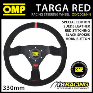 SPECIAL EDITION! OMP TARGA STEERING WHEEL SUEDE LEATHER 330mm RED TRIM & LOGO!