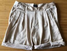 WITCHERY Champagne Gold Satin Look Scallop Edged Flat Front Cuff Dress Shorts 10