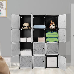 12 Cube Organizer Cabinet Home Wardrobe Closet Interlocking Cube Plastic Storage