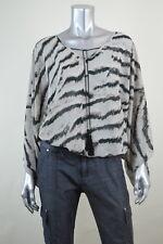 SANCTUARY Beige Zebra Print Chiffon Lace-Up Pullover Top Blouse MSRP $89 Size XS
