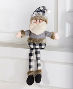 Soft Plush Santa Claus Dressed In Buffalo Plaid & Fur Christmas Shelf Sitter