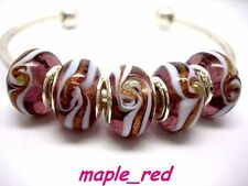 20PCS Purple spiral Lampwork Glass Beads Fit European Charm DIY Bracelet Gift