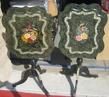 Victorian Period Paper Mache Tilt Top Table Inlaid Mother of Pearl - set of 2