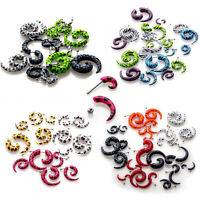 10pc Acrylic Spiral Gauge Ear Plug Fake Cheater Stretcher Flesh Earring Piercing