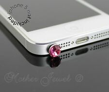 ROSE PINK ROUND RHINESTONE PHONE IPHONE IPAD IPOD CHARM EARPHONE JACK DUST PLUG