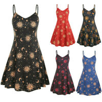 Plus Size Fashion Women Printed O-Neck Sleeveless Casual Dress