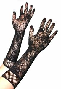 Ladies Mesh Stretchy Floral Long Lace Gloves Gothic Steampunk Fancy Dress Xmas
