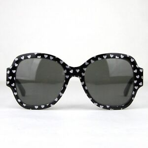 Saint Laurent Black with Silver Hearts Large Sunglasses SL133 447690 1088