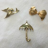 Vintage Lot of 3 Gold Tone Brooches Pins Misc Bow Umbrella Dove