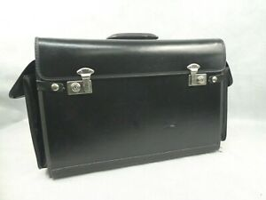 Topper Cases Leather Pilot Case Black with Handle Plastic Drawers Used Condition