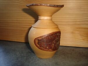 Small Artisan Made Wooden Vase