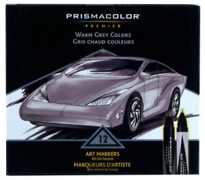 Prismacolor Premier Double Ended Art Markers Warm Grey Colors Set 12pc