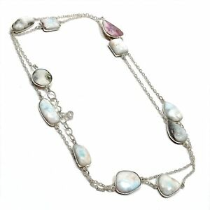 """Caribbean Larimar Gemstone 925 Sterling Silver Jewelry Necklace Size- 32"""""""