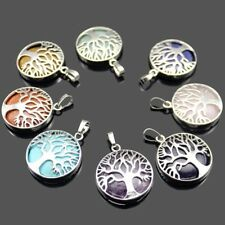 10 pcs 1 Lot Amethyst Agate Moonstone Gems Silver Life Of Tree Necklace Pendants