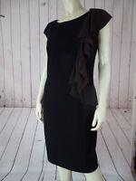 SUZI CHIN MAGGY BOUTIQUE Dress 10 Black Rayon Poly Stretch Double Ruffle Cascade