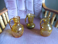 """Small Vintage Hand Blown Amber Crackle Glass Vases 4 1/2"""" to 5"""" tall Lot Of 3"""