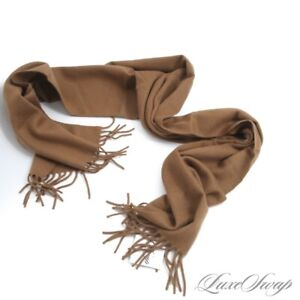 #1 MENSWEAR Neiman Marcus 100% PURE Cashmere Flannel Vicuna Brown Fringed Scarf