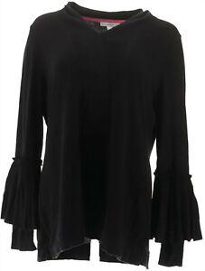 Isaac Mizrahi V-Neck Sweater Pleated Bell Slvs Black XS NEW A343222