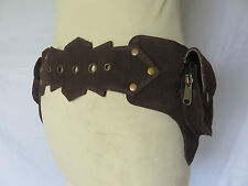 Ceinture Poche Daim - Suede Leather Utility Belt - Star Marron Foncé